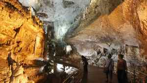 Tourists view the Jeita Grotto in Jeita, north of Beirut.