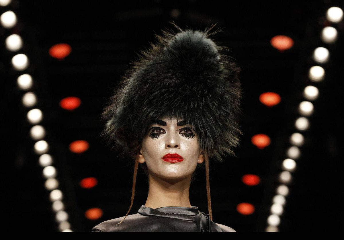 A model presents a creation by Guido Maria Kretschmer at the Berlin Fashion Week Autumn/Winter 2012 in Berlin.