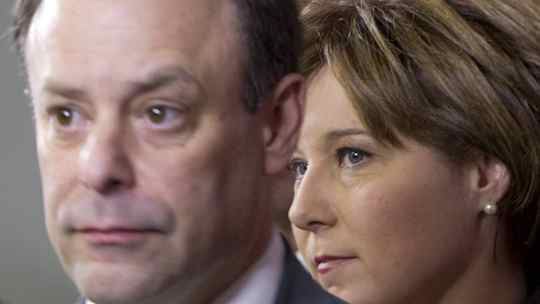 B.C. Christy Clark, right, looks on as Richard Rosenthal speaks during a news conference in Vancouver on Thursday announcing his appointment as the province's first chief civilian director for independent investigations to provide accountability and oversight.