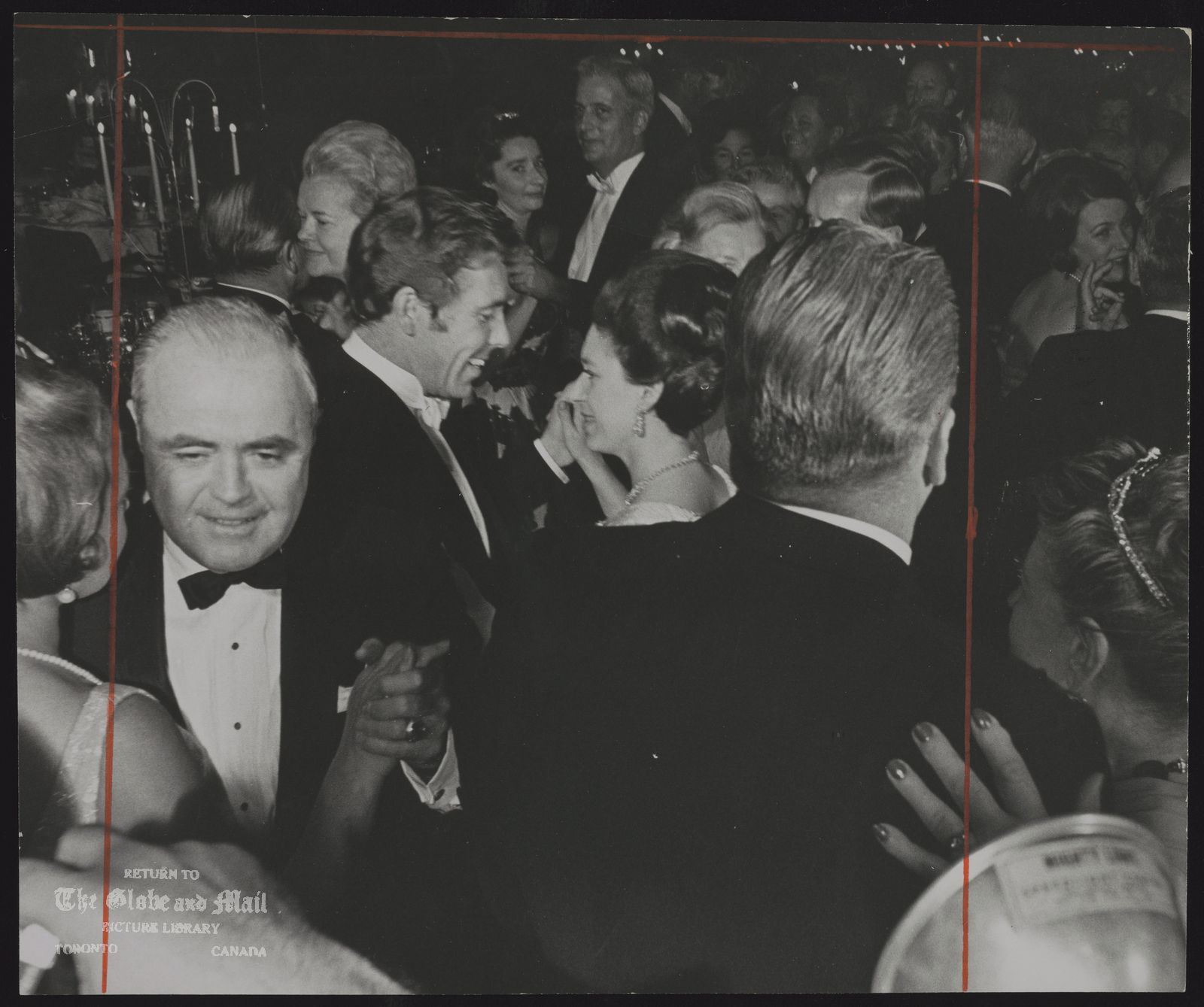 The notes transcribed from the back of this photograph are as follows: ROYAL FAMILY Great Britain Princess Margaret Dancing in Toronto with Lord Snowdon for fund raising for Princess Margaret Hospital