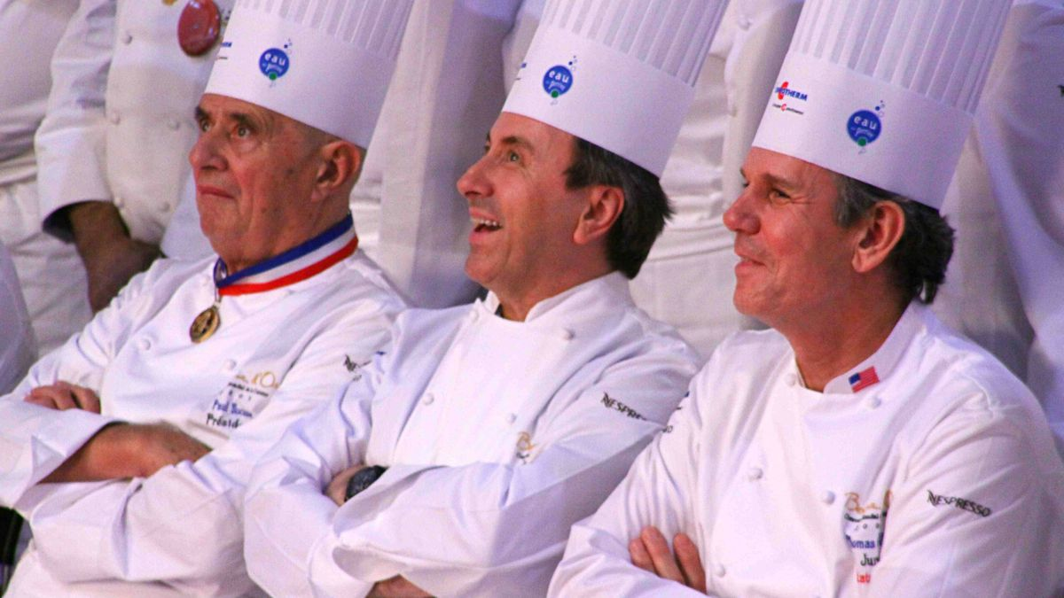 At the Bocuse d'or competition, eponymous chef Paul Bocuse and star chefs, like daniel boulud and Thomas Keller judge the contestants.