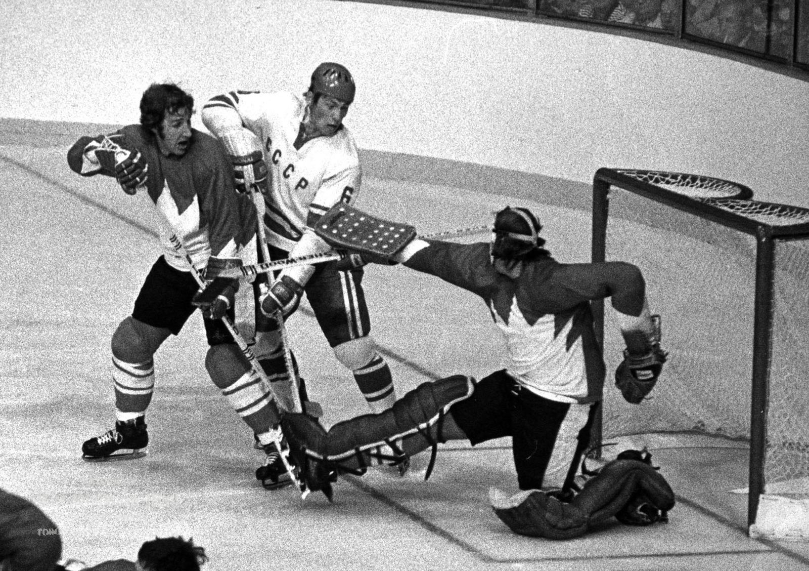 Team Canada goalie Ken Dryden and defenseman Rod Seiling combine to block scoring attempt by Soviet defenceman Valery Vasiliev in the Sept 8, 1972 game of the Canada-U.S.S.R. hockey series. Their on-ice performance has immortalized Team Canada as Canada's sports team of the century, according to a survey of newspaper editors and broadcasters conducted by The Canadian Press and Broadcast News. (CP PHOTO/Peter Bregg)