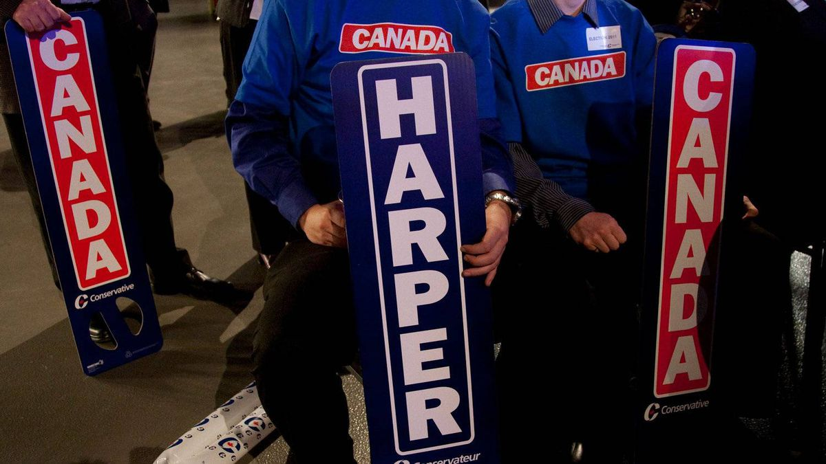 Conservative supporters watch as election results come in night in Calgary, Alta, Monday, May 2, 2011.