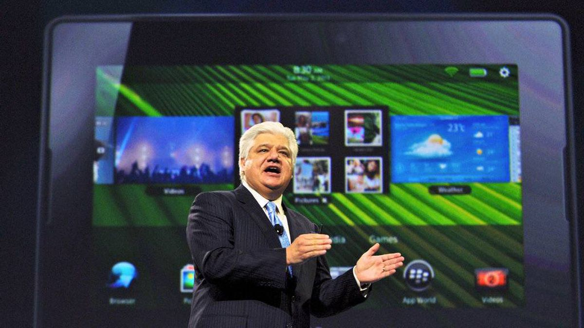 Research In. Motion Co-CEO Mike Lazaridis, addresses the audience during the Blackberry World conference in Orlando, Fla., Tuesday, May 3, 2011.