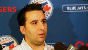 Toronto Blue Jays general manager Alex Anthopoulos answers questions during the MLB winter meetings at Hilton Anatole.