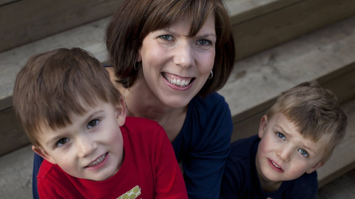 Catherine Hewlett and her twin boys Evan (left) and James.