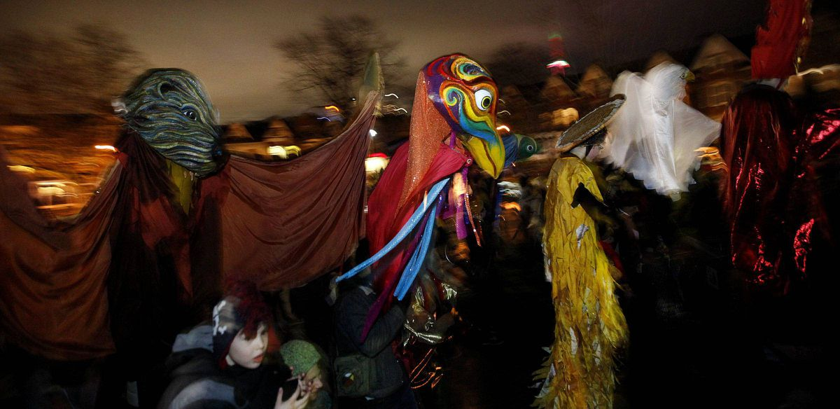 The annual Winter Solstice celebration started with the annual parade featuring costumes, stilt walkers, lanterns, drums and music, from the Kensington Market to Alexandria Park where a celebration took place which included fire handlers and a ceremonial lighting of a fire in Toronto December 21, 2011.
