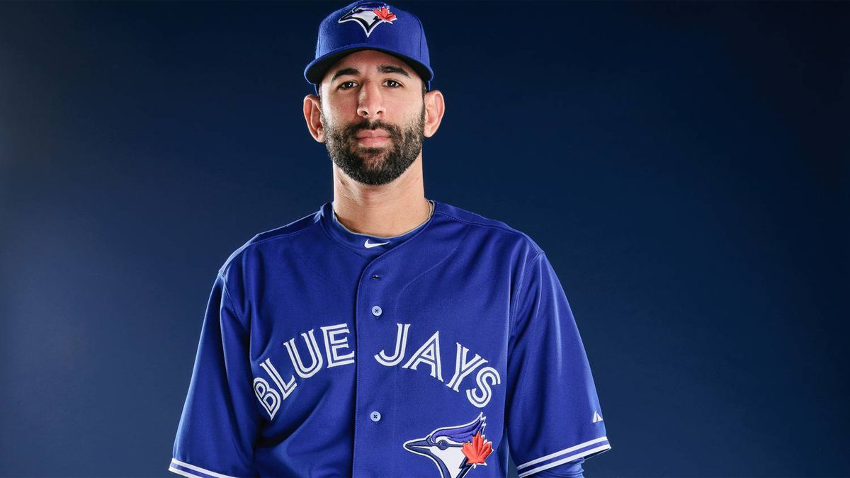 Slugger Jose Bautista models the new Toronto Blue Jays uniform, released on Nov. 18, 2011.