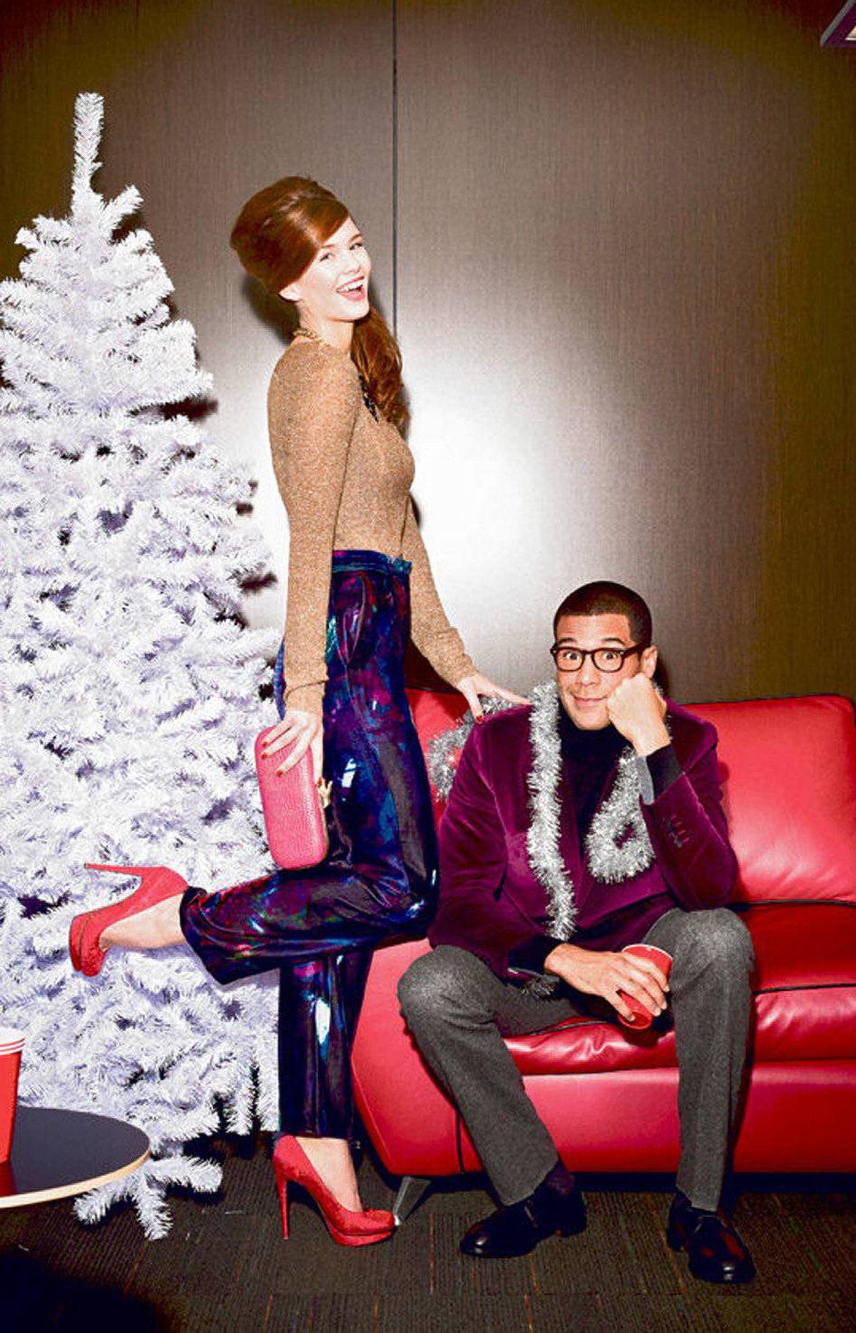 Add some luxe, like velvet. WHERE TO BUY: Her: Marc by Marc Jacobs top, $210 at Holt Renfrew. Erdem pants, $1,295, Nicholas Kirkwood for Erdem shoes, $895 at The Room. Him: Paul Smith turtleneck, $250, jacket, $695, pants, $365 at Holt Renfrew. Allen Edmonds shoes, $795 at Harry Rosen.