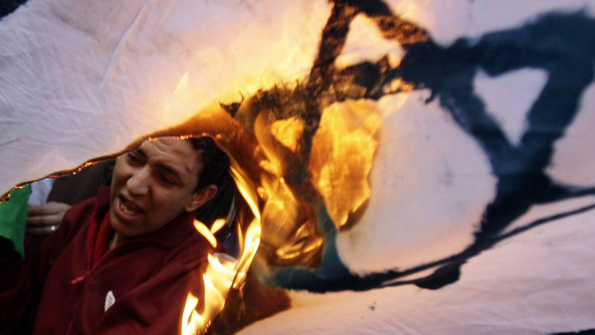 Egyptians protesters burn an Israeli flag during an anti-Israel demonstration in front of the Press Syndicate in Cairo March 27, 2010 .