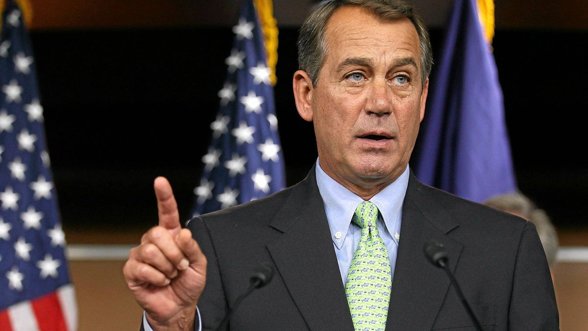 U.S. House Minority Leader Rep. John Boehner (R-OH) speaks during a news conference September 29, 2010 on Capitol Hill in Washington, DC. House Republicans held the news conference to discuss their agenda as Congress heads to recess before the mid-term elections.