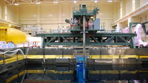 This picture taken on August 21, 2010 shows a MOX fuel storage pool inside the Tokyo Electric Power CO's (TEPCO) Fukushima No.1 plant third reactor building at Okuma town in Fukushima prefecture. The reactor is placed behind the pool. Four of the six reactors at the Fukushima No.1 plant have now overheated and sparked explosions since a massive earthquake and tsunami knocked out cooling systems. Radiation levels near a quake-hit nuclear plant are now harmful to human health, Japan's government said after two explosions and a fire at the crippled facility on March 15, 2011.