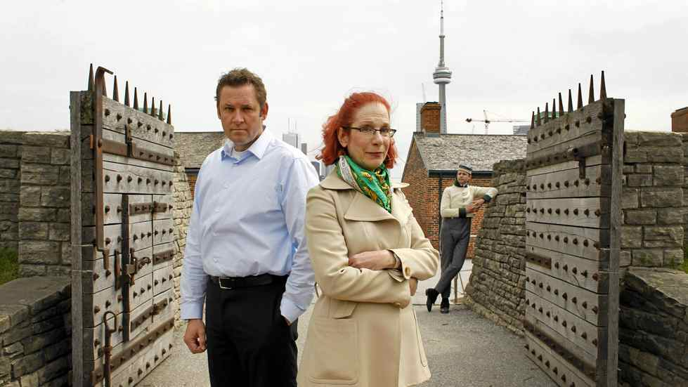David O'Hara, Museum Administrator, Fort York National Historic Site, left, and Sandra Shaul, head of the city's War of 1812 commemoration committee