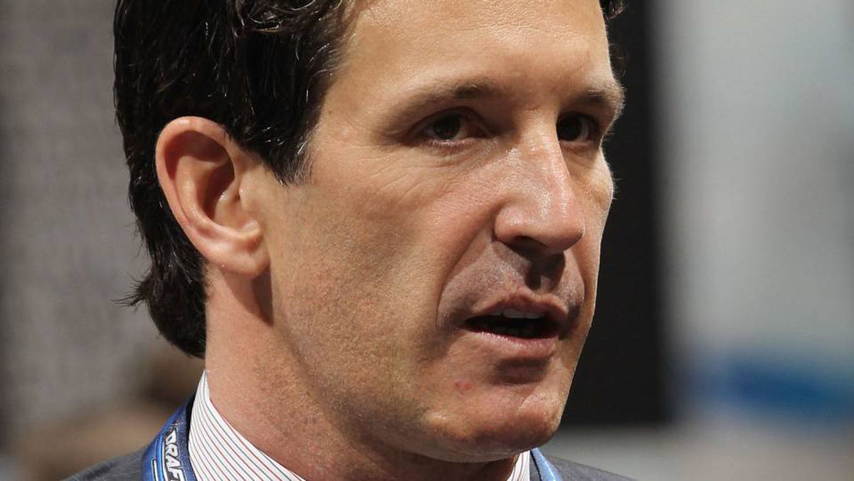 Brendan Shanahan of the NHL works the draft floor during the 2010 NHL Entry Draft at Staples Center on June 25, 2010 in Los Angeles, California.