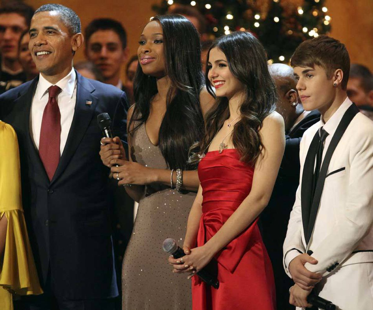 Finally, on Dec. 11, Justin Bieber took part in a Christmas celebration in Washington, D.C., where security kept him two American pop stars away from the President at all times (in this case, Jennifer Hudson and Victoria Justice).