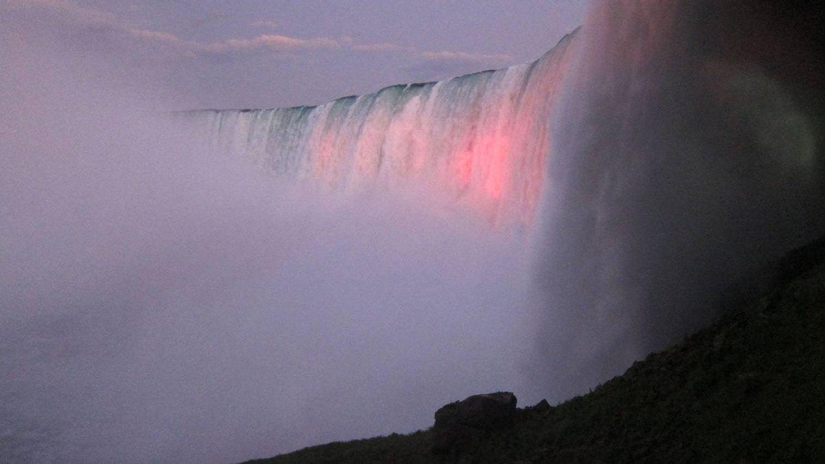 Niagara Falls shown at dusk in Niagara Falls, Canada, Tuesday, Aug. 16, 2011.