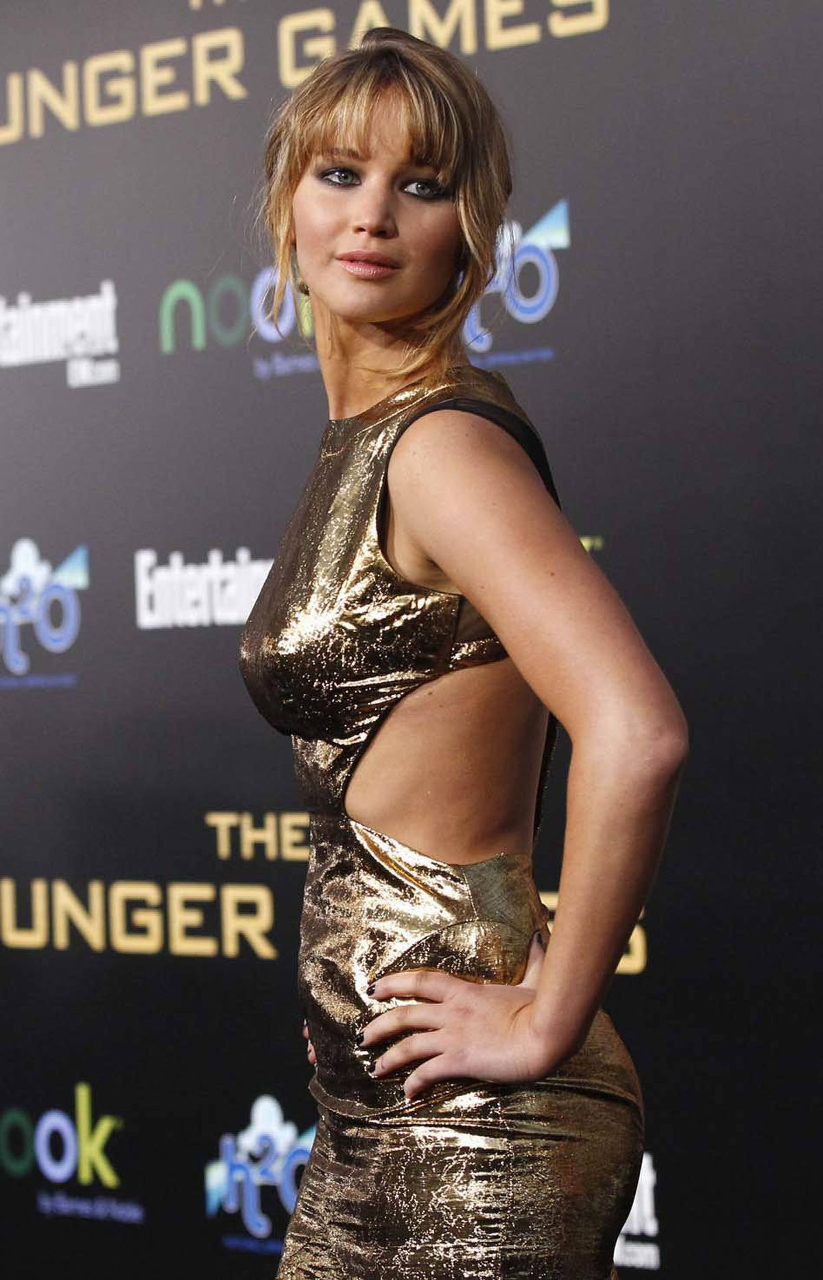 "Jennifer Lawrence channels Barbarella at the premiere of ""The Hunger Games"" in Los Angeles on Monday."