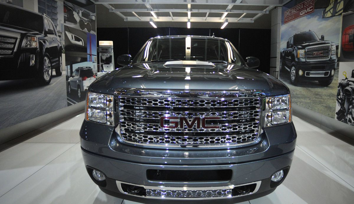 GMC Sierra pick-up truck is photographed during the media preview of the Canadian International Auto Show in Toronto.