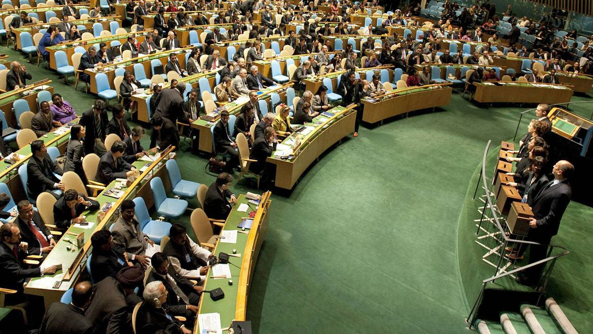 Ballot boxes sit in front of members of the United Nations before a vote on the election of the five non-permanent members of the Security Council on Oct. 12, 2010, in New York.