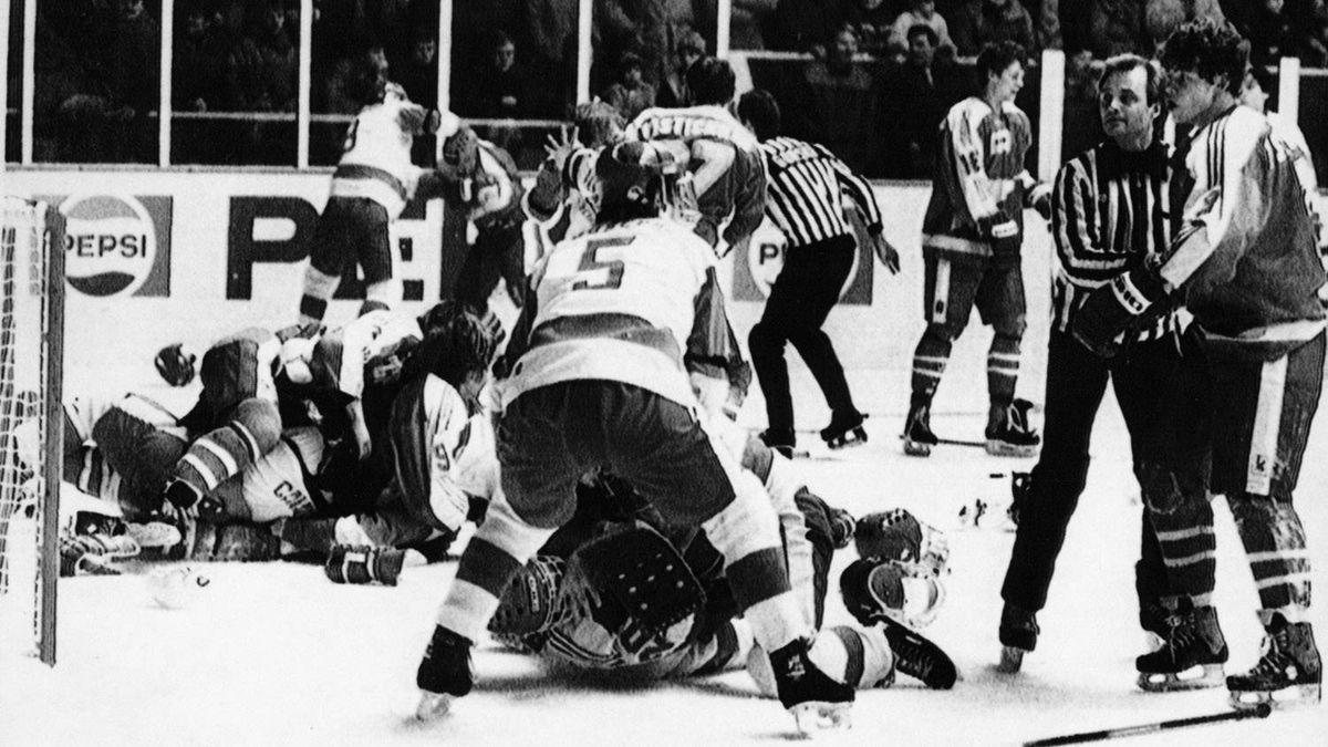 During the final game of the between Canada and the Soviet Union in the 1987 World Juniors, Pavel Kostichkin took a slash at Theoren Fleury, sparking what became one of the most infamous bench-clearing brawls in hockey history. The officials, unable to break up the fight, walked off the ice and tried shutting off the arena lights, but the melee lasted for 20 minutes.