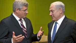 Prime Minister Stephen Harper holds a bilateral meeting with Israel's Benjamin Netanyahu at the United Nations in New York on Sept. 21, 2011.
