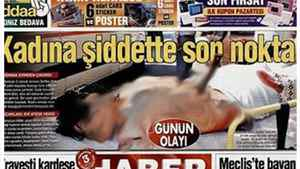 A screengrab from Turkish newspaper Habertürk shows a blurred-out photo of a stabbed women.