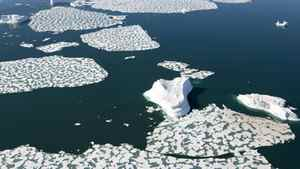 Ice patterns and icebergs are seen in Croaker Bay near Devon Island in Canada's Arctic, Friday, July 11, 2008.