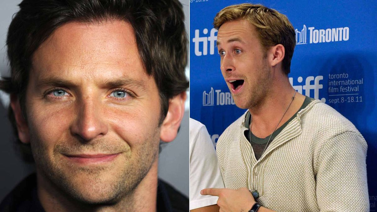 Two different photographs are juxtaposed to give the uncorroborated impression Ryan Gosling (right) is aghast at People magazine's selection of Bradley Cooper (left) as the Sexiest Man Alive.