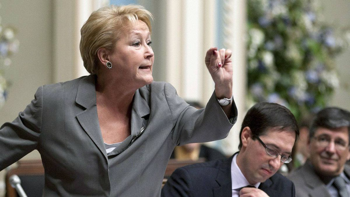 Parti Québécois Pauline Marois speaks in the National Assembly in Quebec City on Nov. 24, 2011.