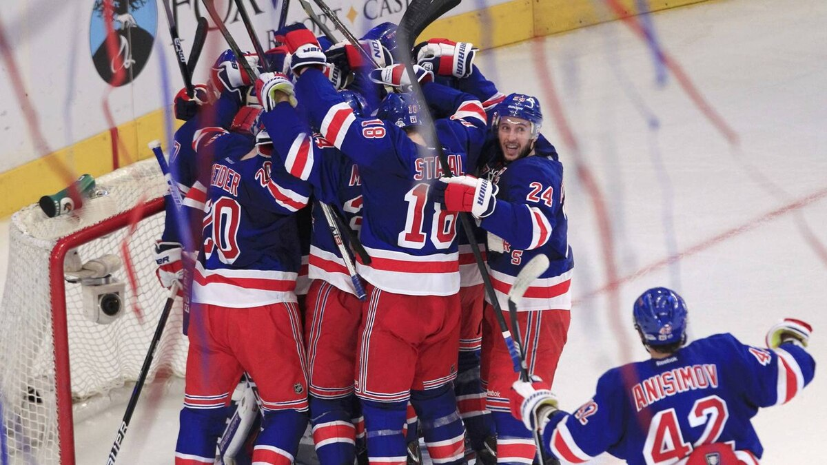 The New York Rangers celebrate after defeating the Washington Capitals in Game 7 of their NHL Eastern Conference semi-final playoff hockey game at Madison Square Garden in New York May 12, 2012. REUTERS/Shannon Stapleton
