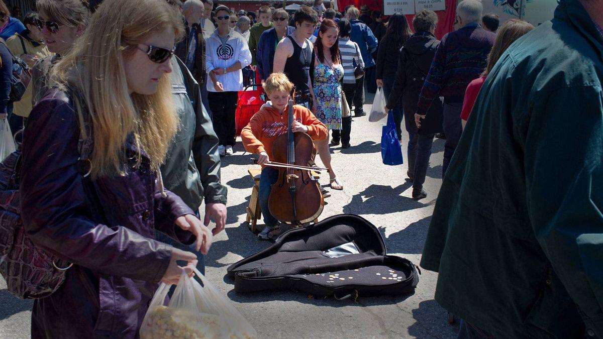 Tony R. Wagstaff photo: Cello - Playing cello on the street is a tough gig man. Photo taken: April 30. 2011.