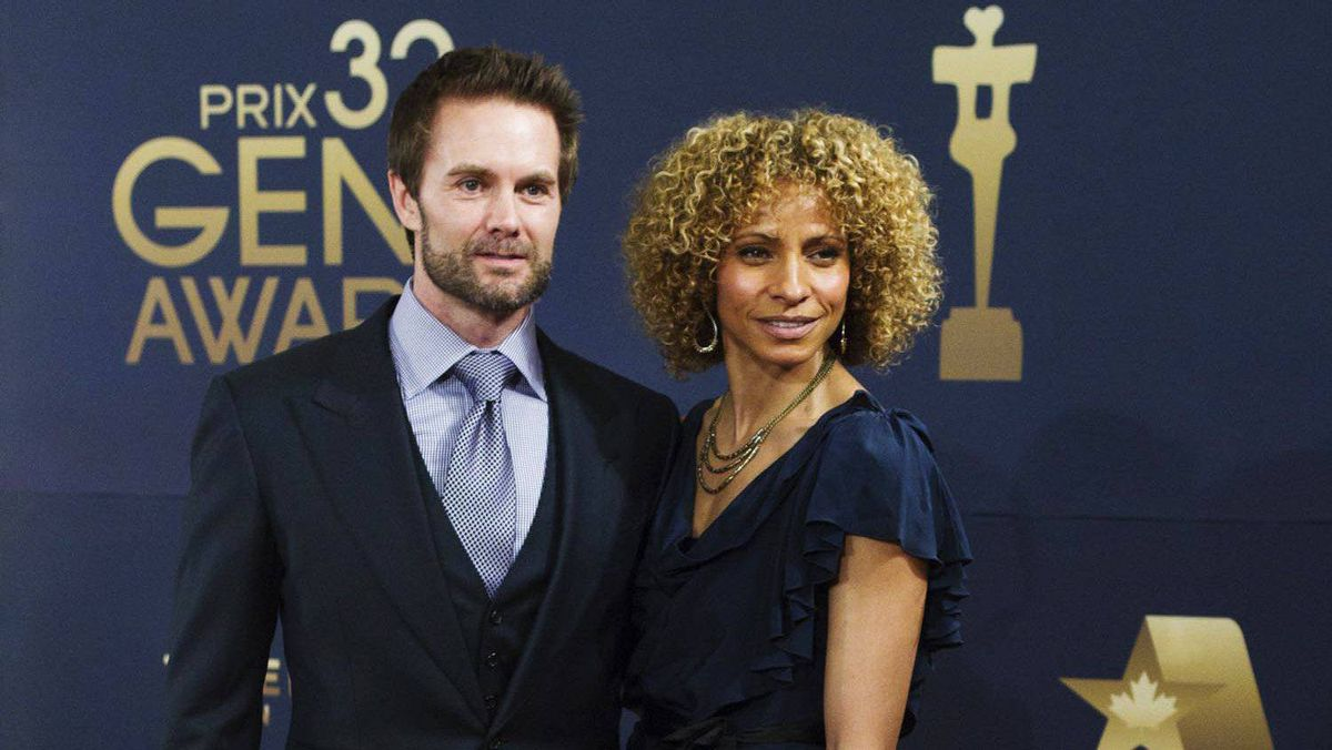 Garret Dillahunt, nominee for best actor for Oliver Sherman, and his wife Michelle Hurd.