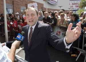 NHL Commissioner Gary Bettman speaks to a reporter as he walks the red carpet at the National Hockey Legue awards in Las Vegas.