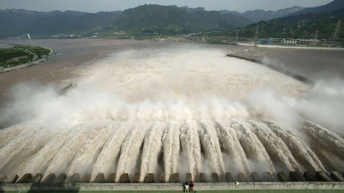 A general view shows the Three Gorges Dam Project discharging water, to lower water level in the reservoir, in Yichang, central China's Hubei province.