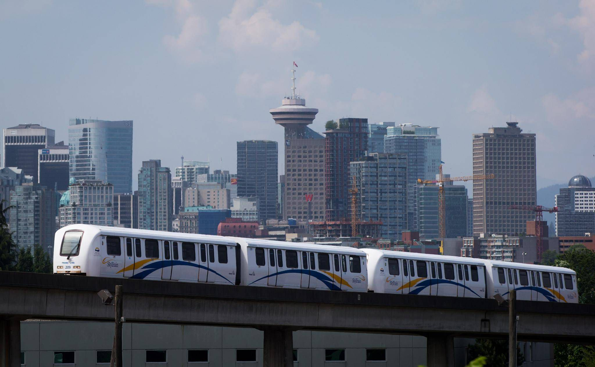 Vancouver Skytrain and skyline