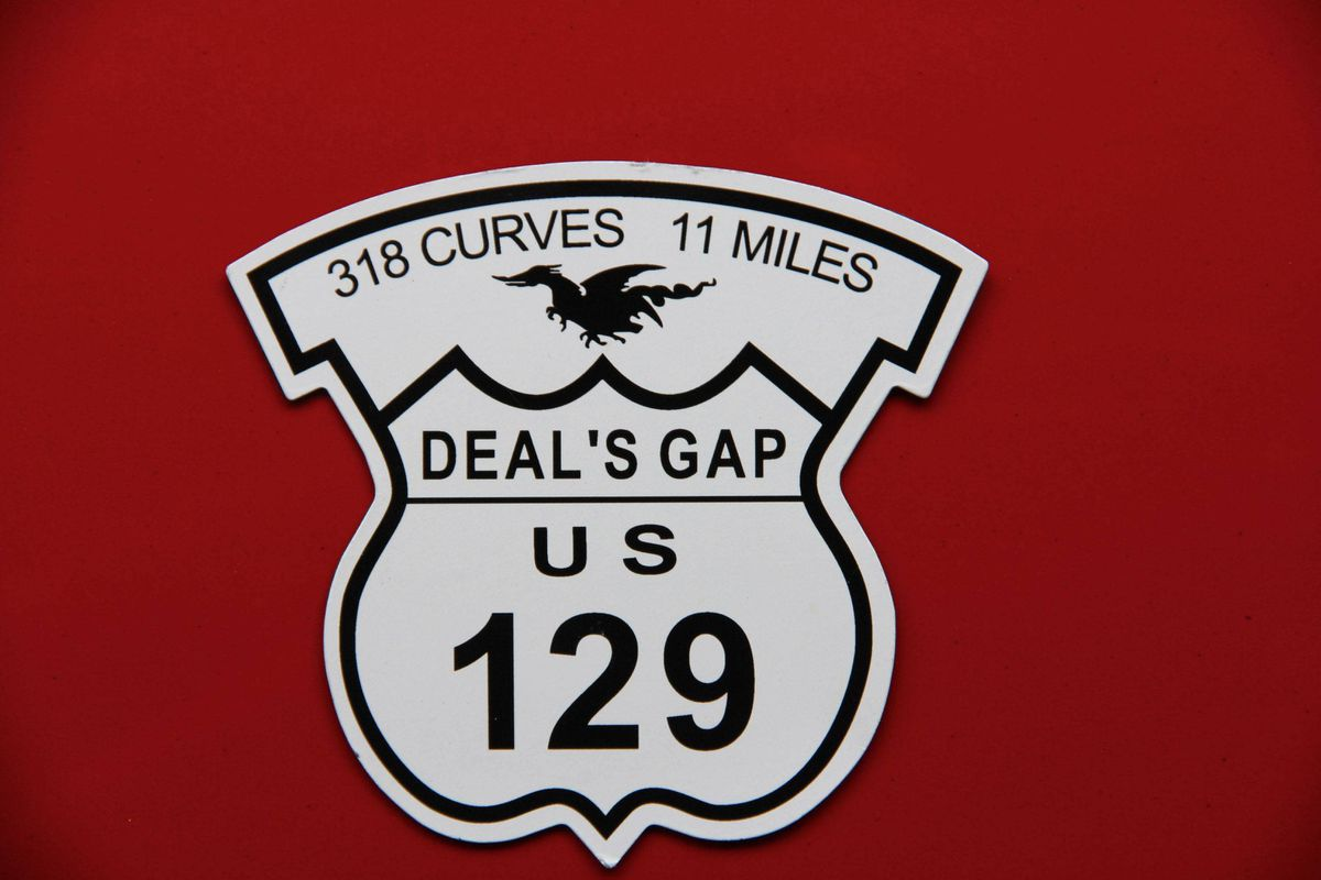 A magnetic car sticker - one of many souvenirs you can buy to commemorate your visit to US Route 129, also known as The Tail of the Dragon.