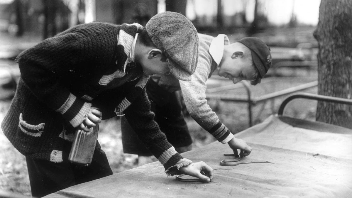 Two students make an impromptu study of garter snakes at Toronto's Victoria Park Forest School in May of 1933. The city ran two outdoor forest schools for vulnerable children during the summer months from 1913-1963.