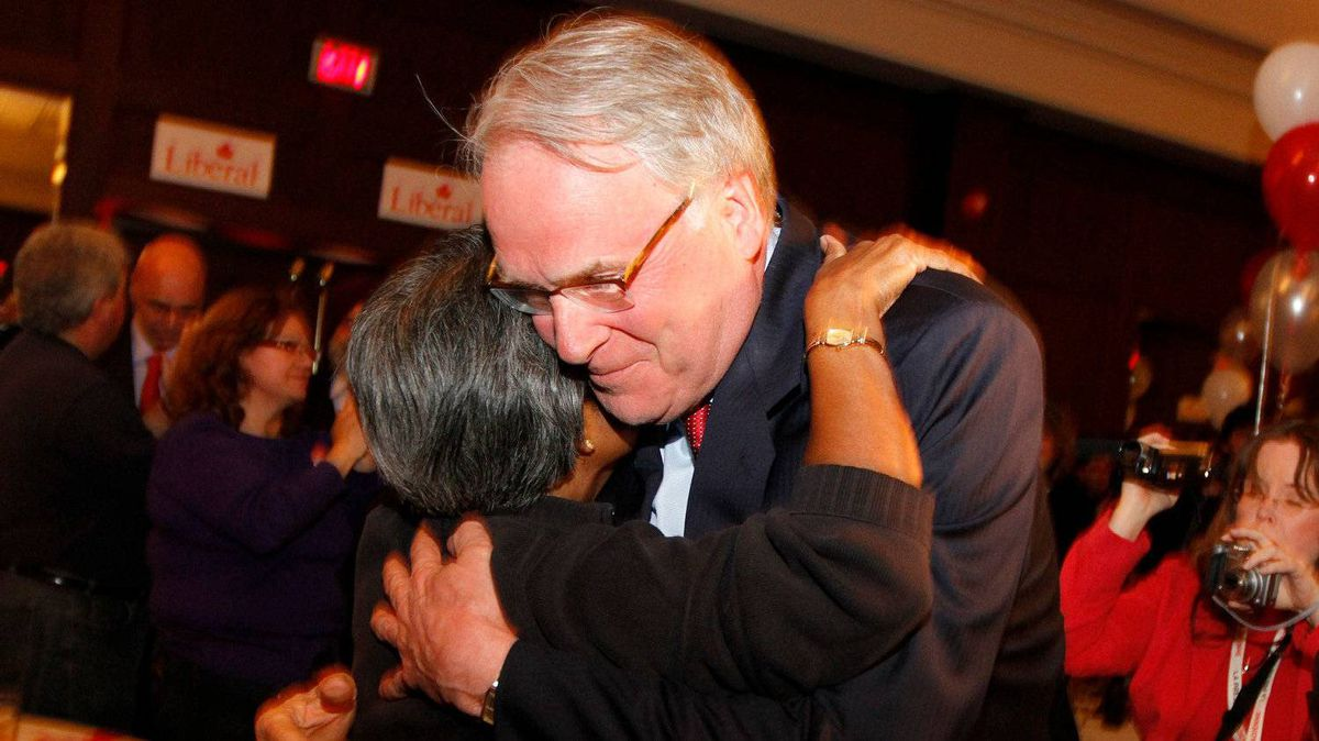 York Centre Liberal candidate Ken Dryden meets supporters in Toronto after losing his seat on May 02, 2011.