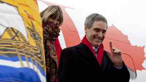Liberal Leader Michael Ignatieff and his wife Zsuzsanna Zsohar arrive in Saint John on April 20, 2011.