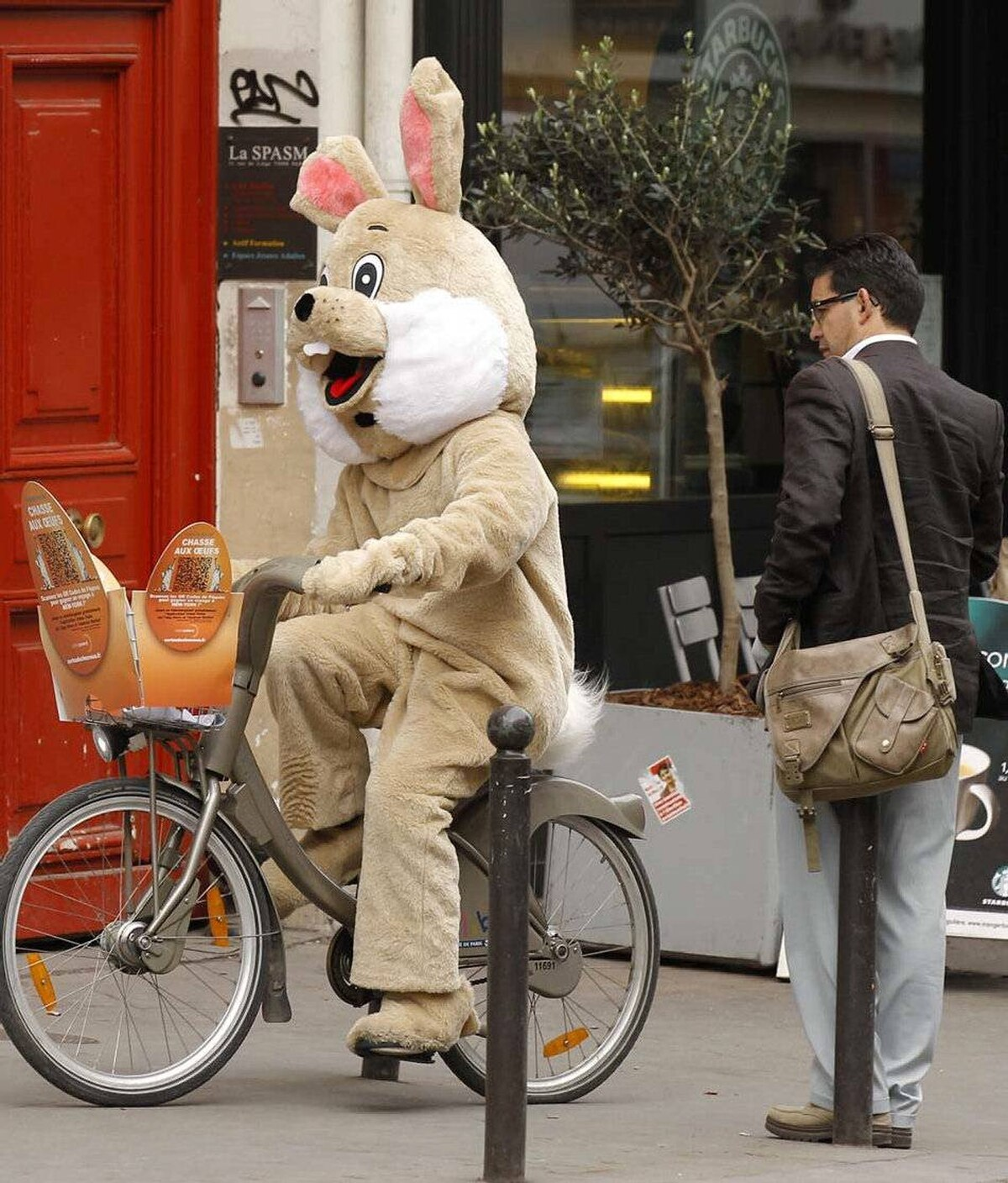 Meanwhile in France, a Frenchman ponders the semiotic symbolism of a brown Easter rabbit on a bicycle in Paris and deduces that the existential dread with which he has lived since childhood has now exploded in his consciousness and the rabbit is, in fact, a hallucination warning him, like all other French hallucinations, to be less faithful to his wife.