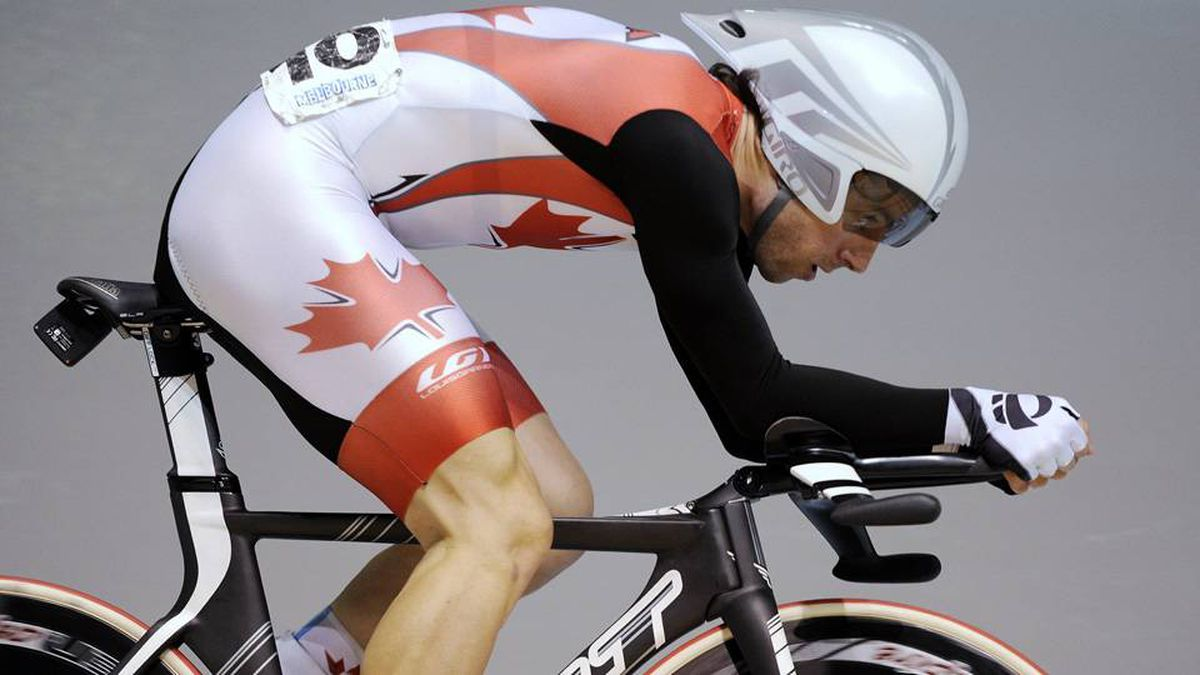 Canada's Zach Bell races in the individual pursuit event of the men's omnium at the Track Cycling World Championships in Melbourne, Australia, Friday.