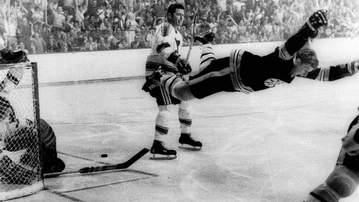 Bobby Orr goes into orbit after scoring the goal that won the Stanley Cup for the Boston Bruins, May 10,1970, against the St. Louis Blues at Boston Garden. The Boston Bruins are unveiling a statue of Bobby Orr in his defining moment.The bronze sculpture depicts the most beloved player in team history flying through the air with his arms outstretched after scoring the goal that clinched the 1970 Stanley Cup championship against the St. Louis Blues. It's scheduled to be unveiled Monday outside the TD Garden. THE CANADIAN PRESS/AP-Boston Herald American, Ray Lussier