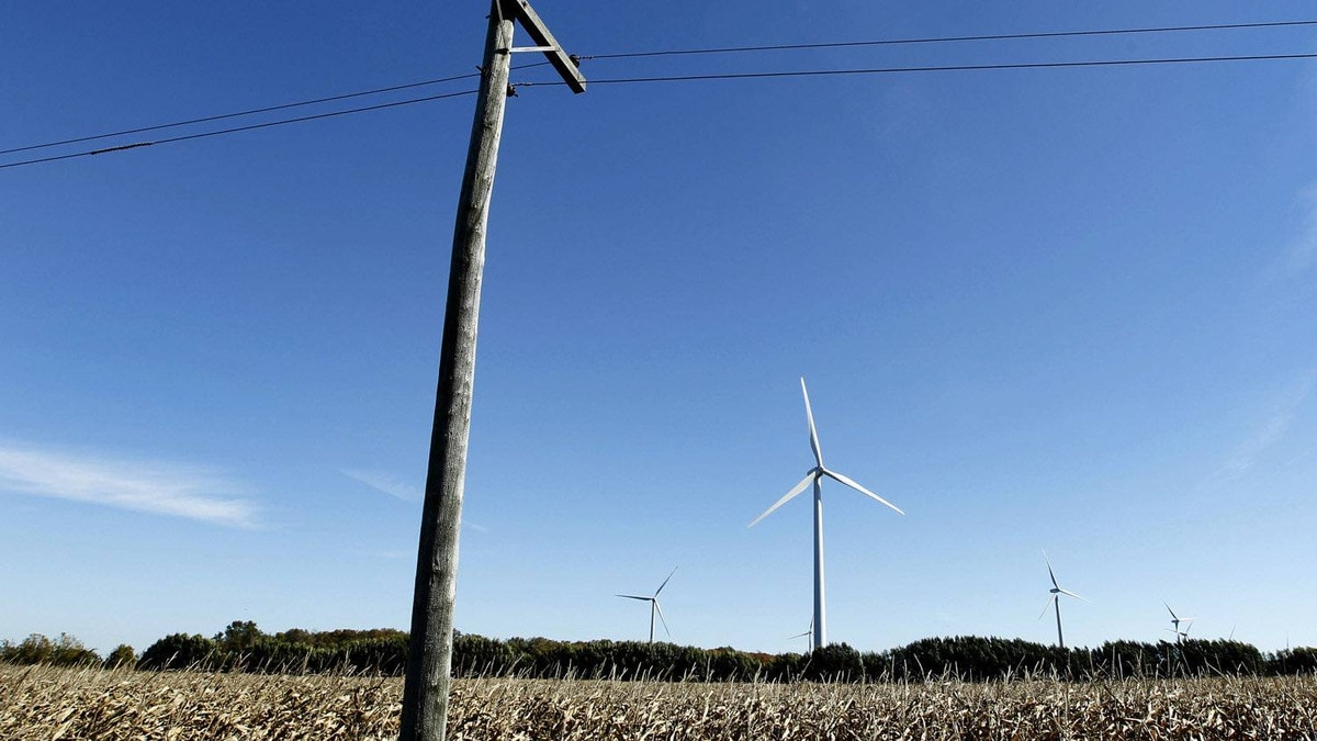 Large wind turbines dot the landscape and cut into the skyline in Norfolk County in Southwetern Ontario.