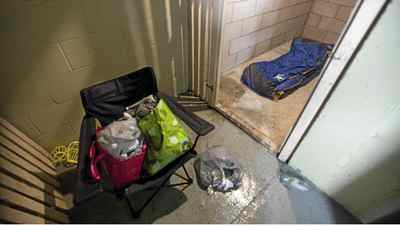 Evidence of a squatter in a basement storage locker at 250 Davenport in Toronto on Jan. 16, 2012. Some residents of the building have complained numerous times regarding the poor living conditions and lack of security