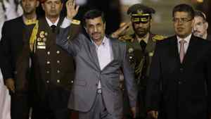 Iran's President Mahmoud Ahmadinejad, seen Sunday, Jan. 8, 2012, in Venezuela, faces some heat. His government was forced to prop up its currency Jan. 4, just days after the U.S. imposed tough new sanctions to goad it into abandoning its nuclear weapons program. A European curb on Iranian crude imports would add to pressure on Tehran ahead of elections in March.