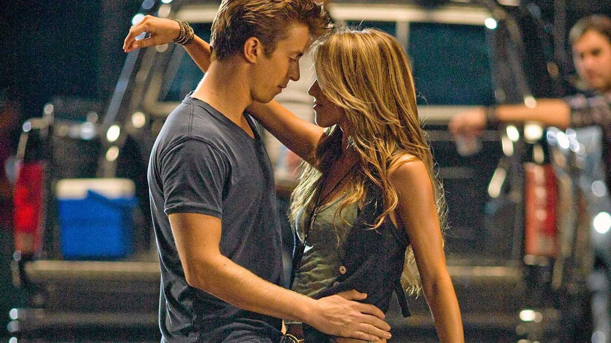 "Kenny Wormald and Julianne Hough dance it up in ""Footloose."""
