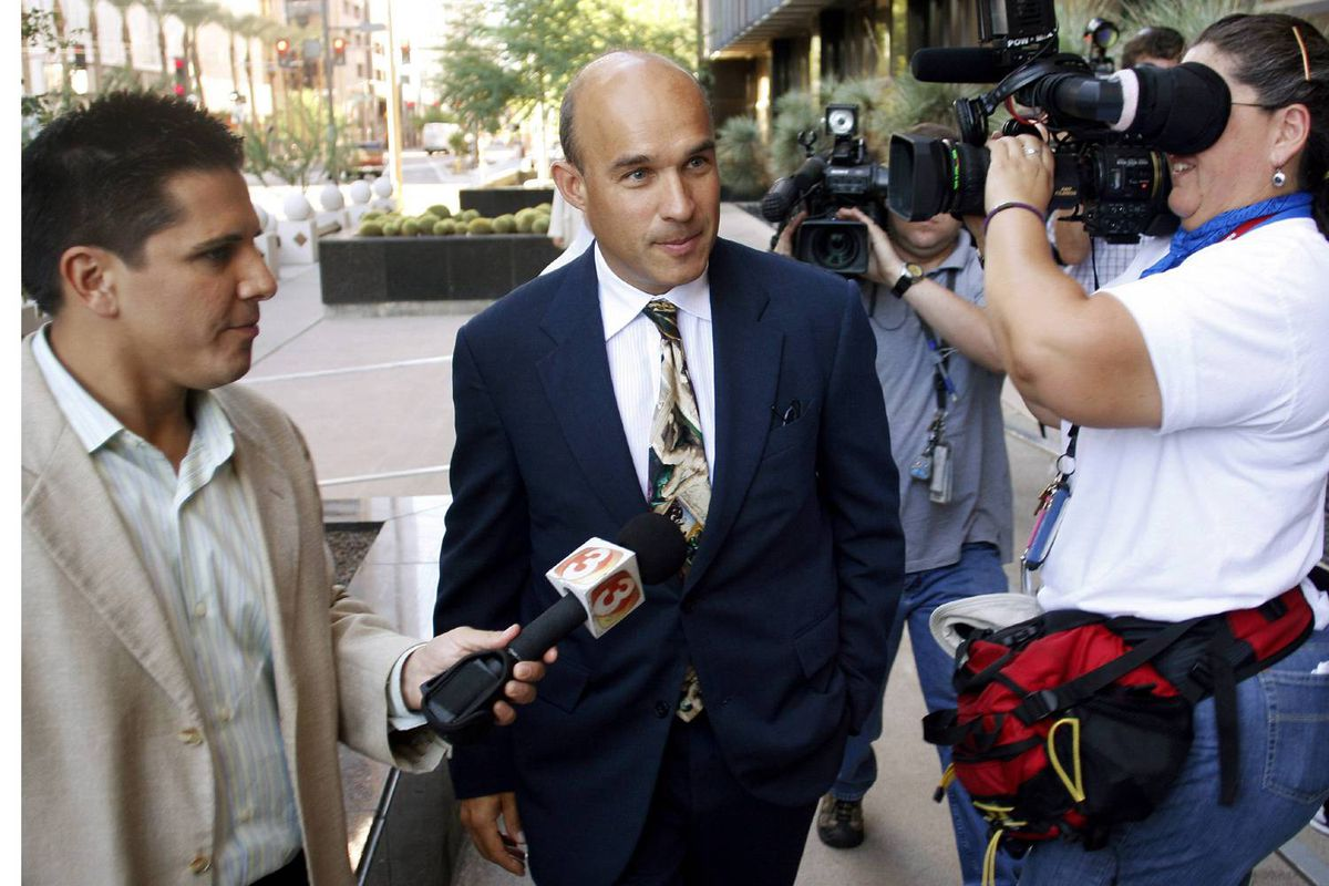 BlackBerry billionaire Jim Balsillie arrives at the U.S. Federal Bankruptcy Court in Phoenix on Thursday.