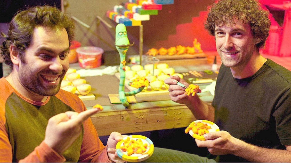 Animaking co-founders Arthur Nunes (left) and Paolo Conti (right) working on the Brazilian animation studioês latest film, Worms (or Minhocas in Portuguese).