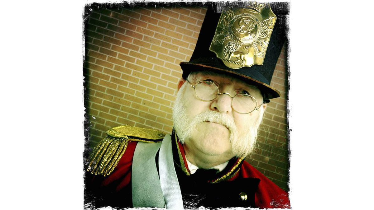 Richard Feltoe, of Brampton, Ont., dressed as an officer of the Volunteer Battalion of Incorporated Militia of Upper Canada.