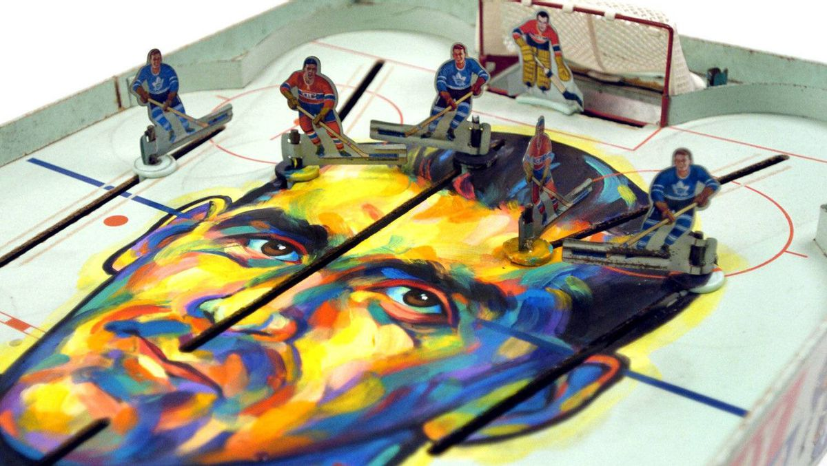 Hockey game painted by Globe editorial cartoonist Tony Jenkins. A portrait of Maurice Richard (Rocket Richard) by editorial cartoonist Anthony Jenkins, part of an exhibit entitled Game Faces in Toronto. April.6.2004 photo by Fred Lum/The Globe and Mail